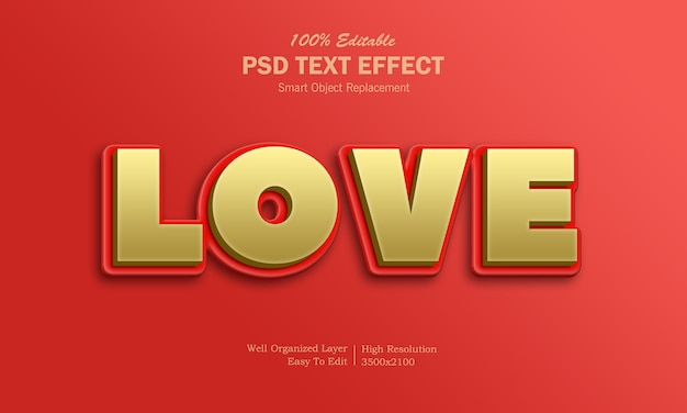 Efeito de texto de amor