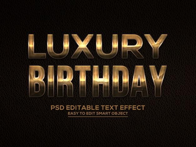 Efeito de texto de aniversário de luxo