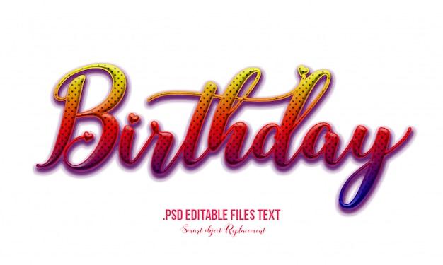 Efeito de texto de aniversário psd, conjunto elegante rosa roxo vermelho efeito de texto bonito abstrato, efeito de fonte editável do estilo adorável texto