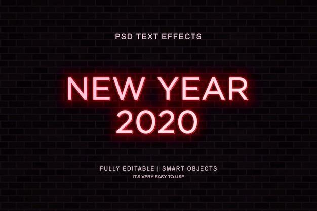 Efeito de texto de ano novo de néon