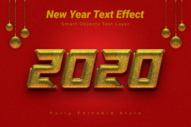 Efeito de texto de ano novo