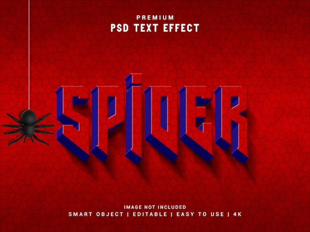 Efeito de texto de aranha, maquete realista 3d