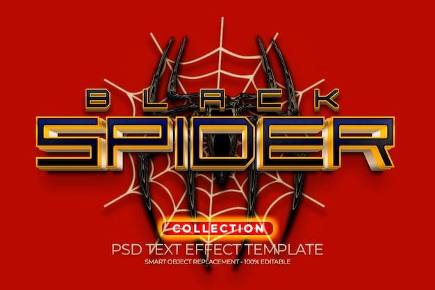 Efeito de texto de aranha preta dourada
