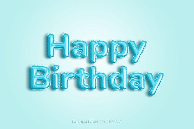 Efeito de texto de balão de feliz aniversário