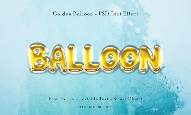 Efeito de texto de balão dourado