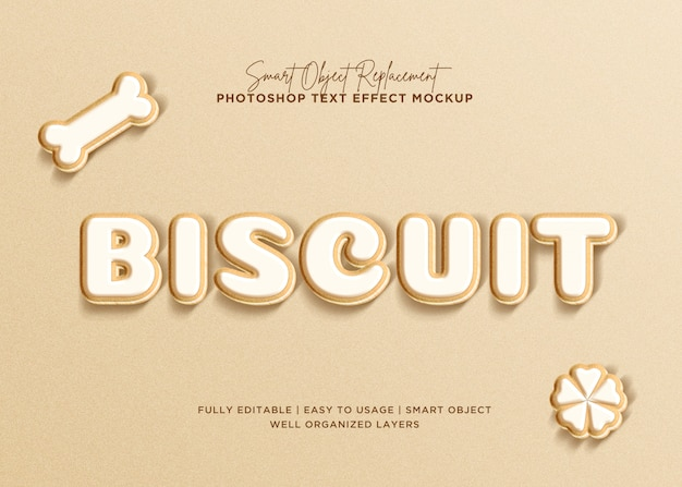 Efeito de texto de biscoito de estilo 3d