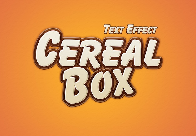 Efeito de texto de caixa de cereal