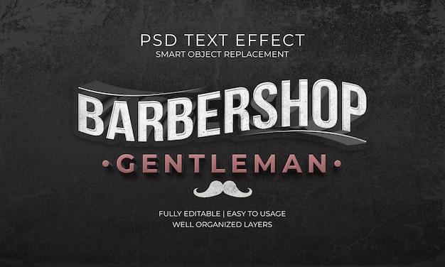 Efeito de texto de cavalheiro de barbearia