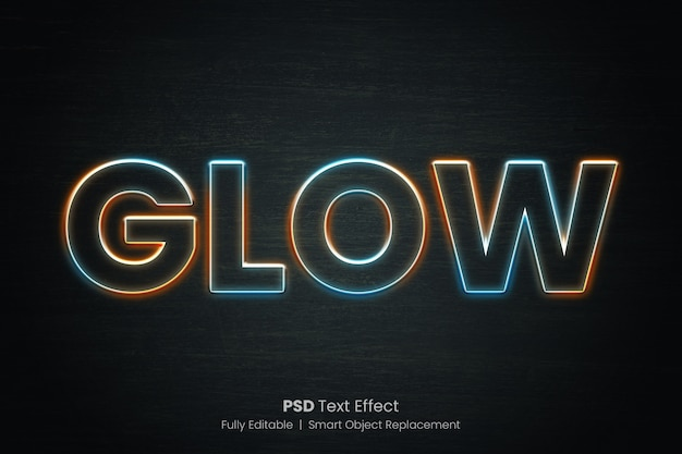 Efeito de texto de contorno brilhante de várias cores