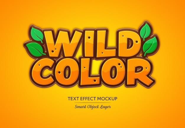 Efeito de texto de cor selvagem mockup