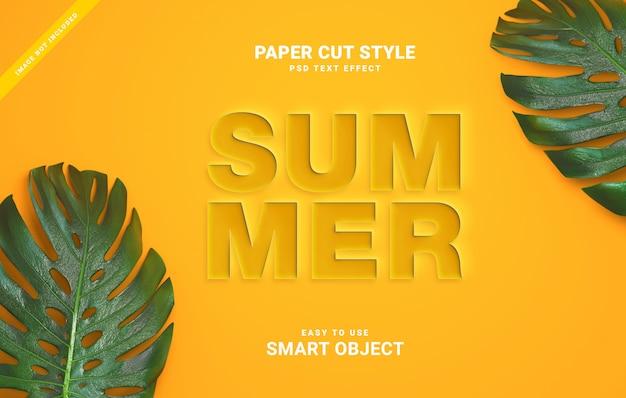 Efeito de texto de corte de papel de verão
