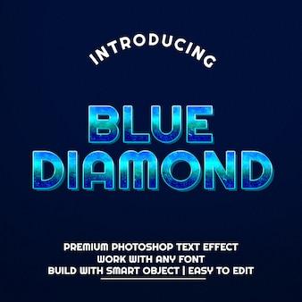 Efeito de texto de diamante azul 3d premium psd