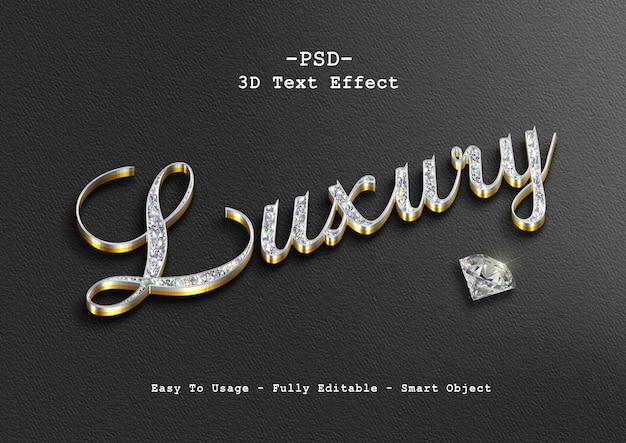 Efeito de texto de diamante de luxo 3d