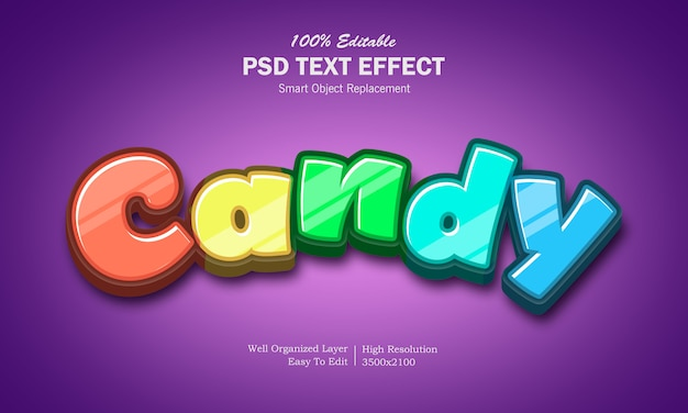 Efeito de texto de doces de arco-íris