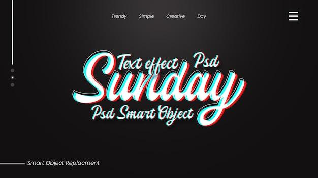 Efeito de texto de domingo psd premium