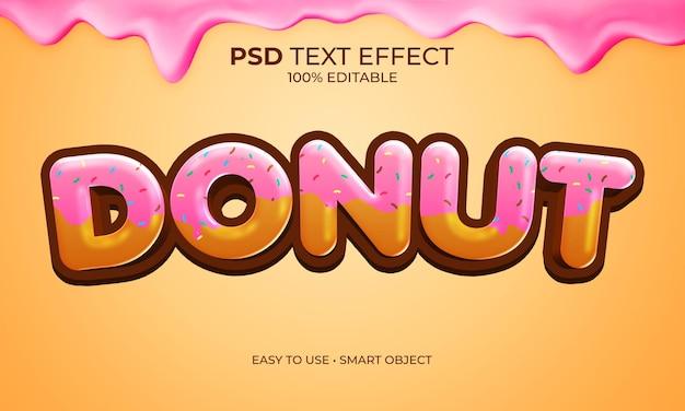 Efeito de texto de donut bolo