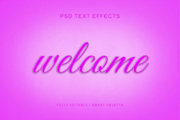Efeito de texto de estilo 3d bem-vindo Psd Premium