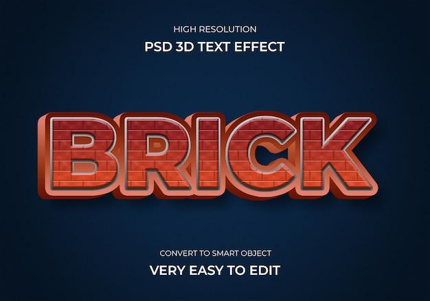 Efeito de texto de estilo 3d de tijolo