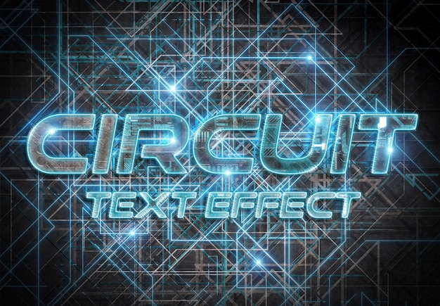 Efeito de texto de estilo de circuito azul
