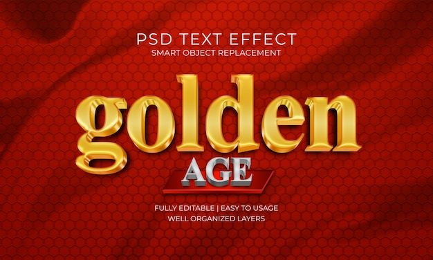 Efeito de texto de estilo de idade dourada