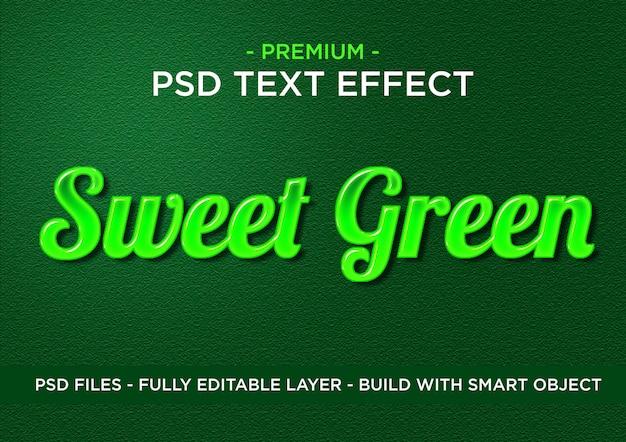 Efeito de texto de estilo psd verde doce do photoshop premium