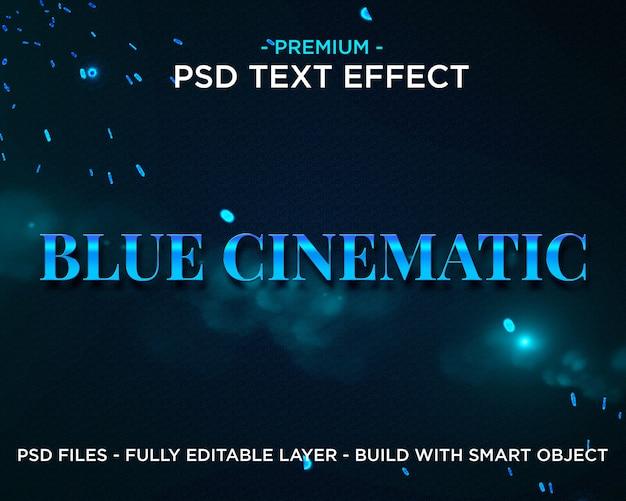 Efeito de texto de estilos de cinema azul premium photoshop psd