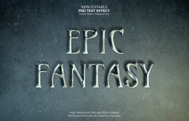 Efeito de texto de fantasia épica