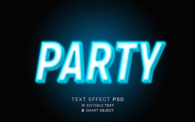 Efeito de texto de festa em néon