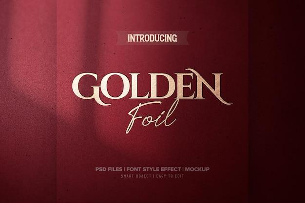Efeito de texto de folha de ouro vermelho luxuoso
