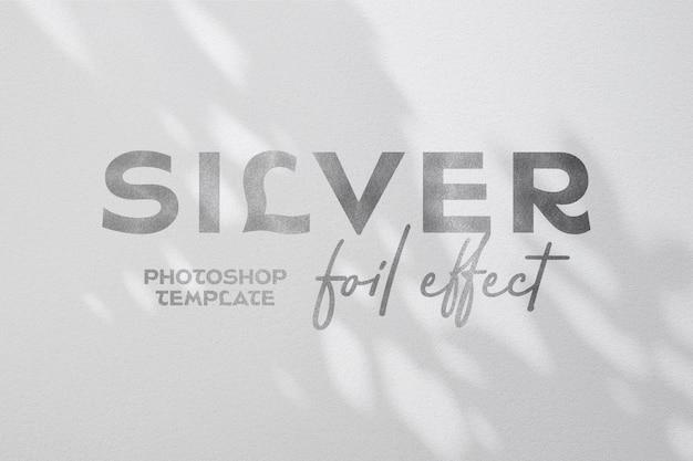 Efeito de texto de folha de prata