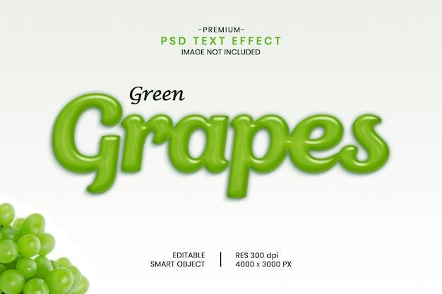 Efeito de texto de frutas uvas verdes