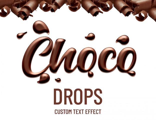 Efeito de texto de gotas de chocolate