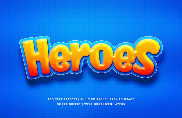Efeito de texto de heróis