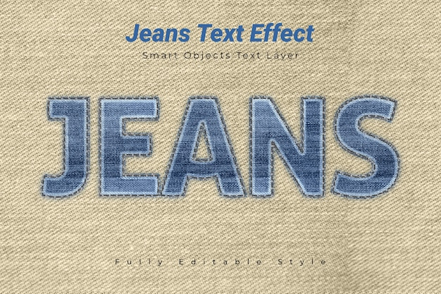 Efeito de texto de jeans