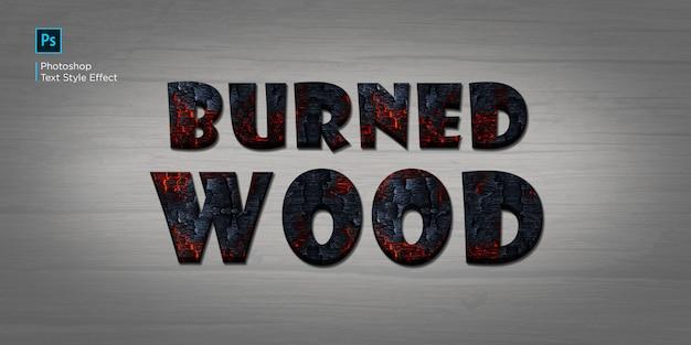 Efeito de texto de madeira queimada