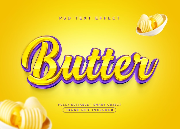 Efeito de texto de manteiga de estilo 3d