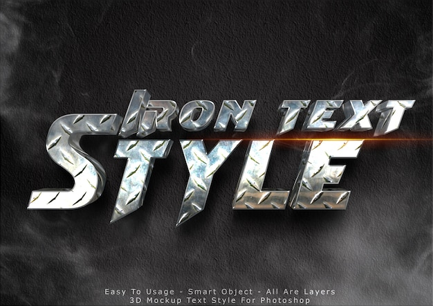 Efeito de texto de maquete de ferro 3d