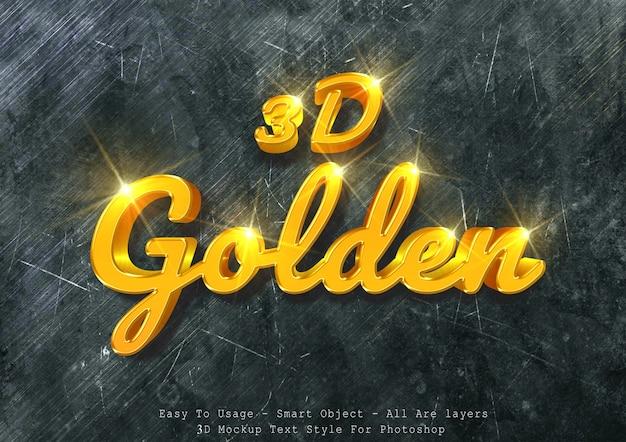 Efeito de texto de maquete de ouro 3d