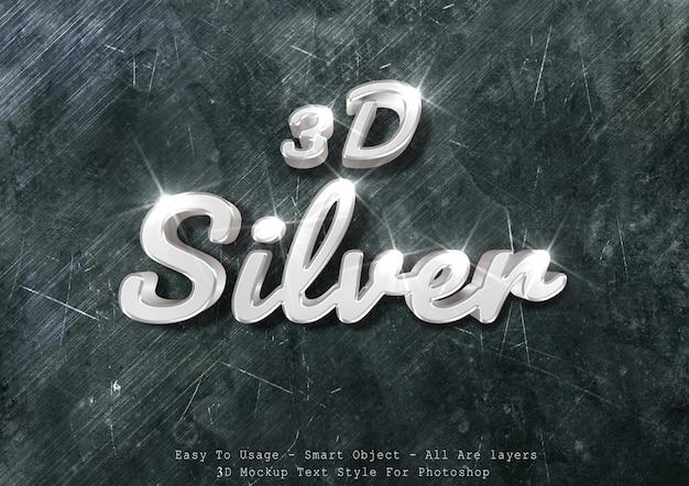 Efeito de texto de maquete de prata 3d