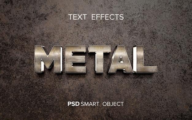 Efeito de texto de metal brilhante