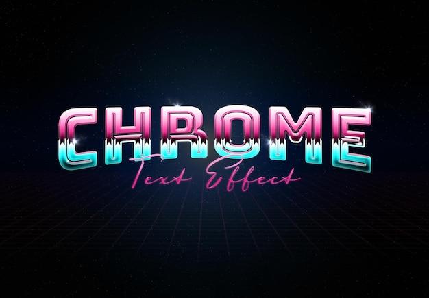 Efeito de texto de metal cromado com reflexo brilhante