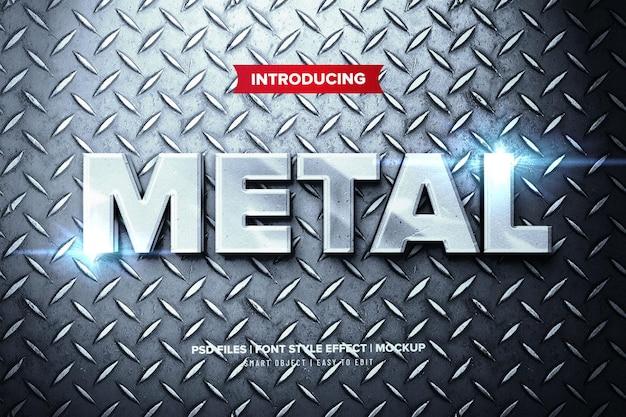 Efeito de texto de metal prateado premium