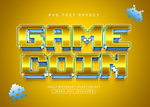 Efeito de texto de moeda de jogo estilo 3d