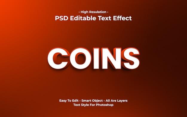 Efeito de texto de moedas 3d