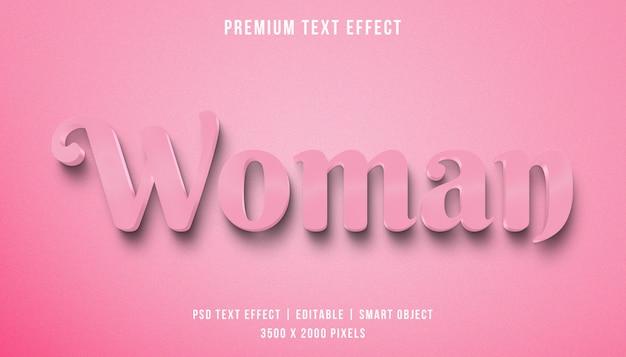 Efeito de texto de mulher 3d