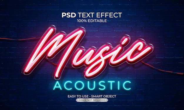 Efeito de texto de música acústica neon light