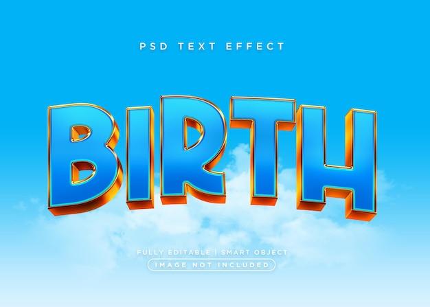 Efeito de texto de nascimento de estilo 3d