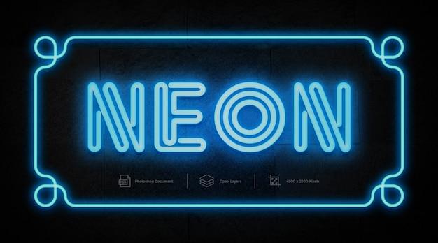 Efeito de texto de néon azul design efeito de estilo de camada do photoshop