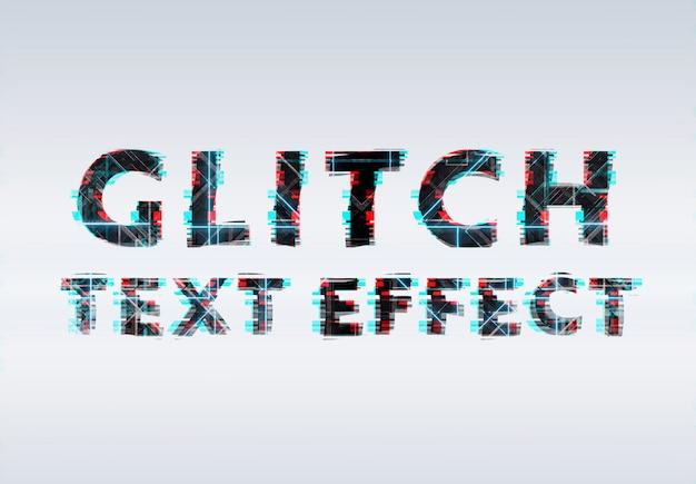 Efeito de texto de néon de falha azul e vermelho preto