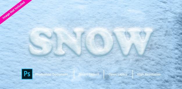 Efeito de texto de neve efeito de estilo de camada de design